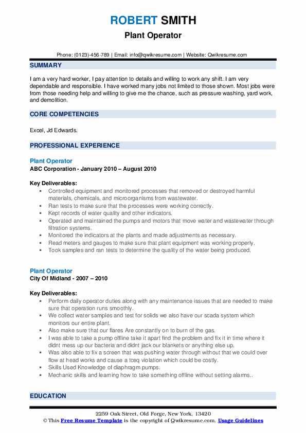 Plant Operator Resume example