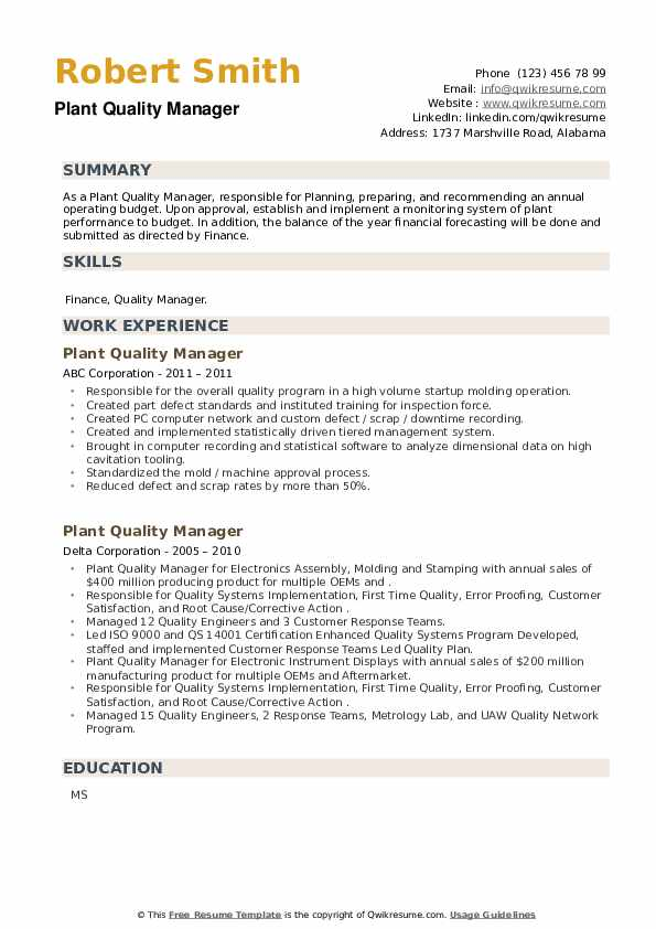 Plant Quality Manager Resume example