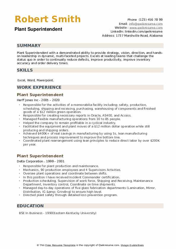 Plant Superintendent Resume example