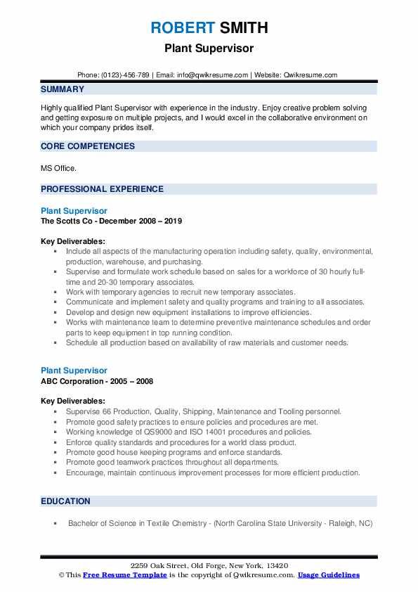 Plant Supervisor Resume example