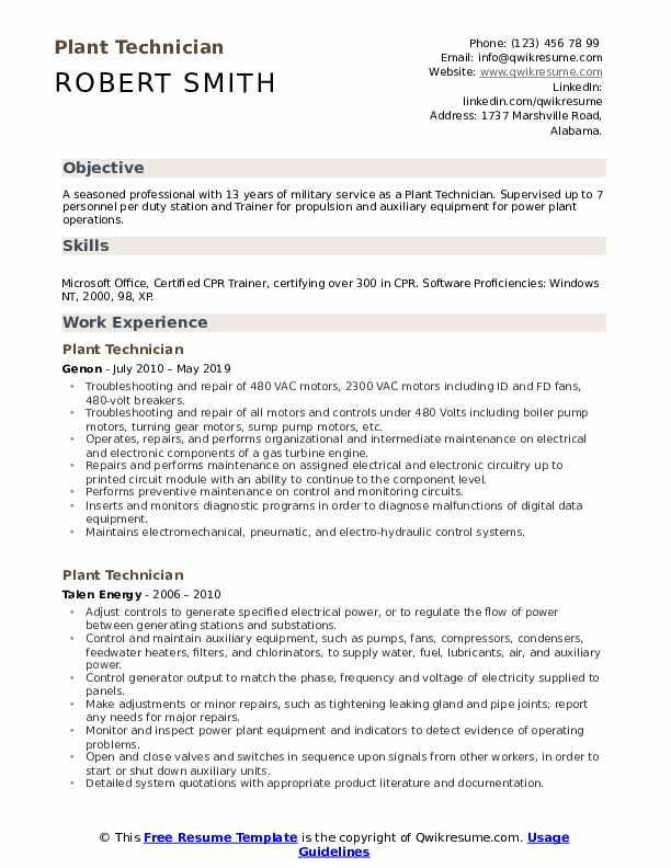 Plant Technician Resume Format