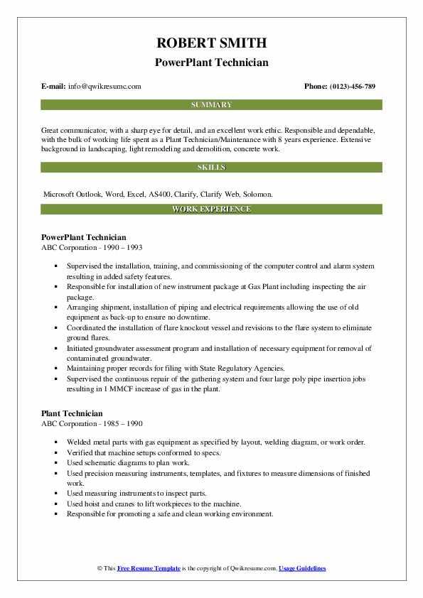 PowerPlant Technician Resume Sample