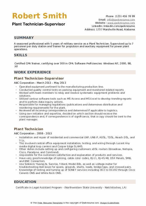Plant Technician-Supervisor Resume Model