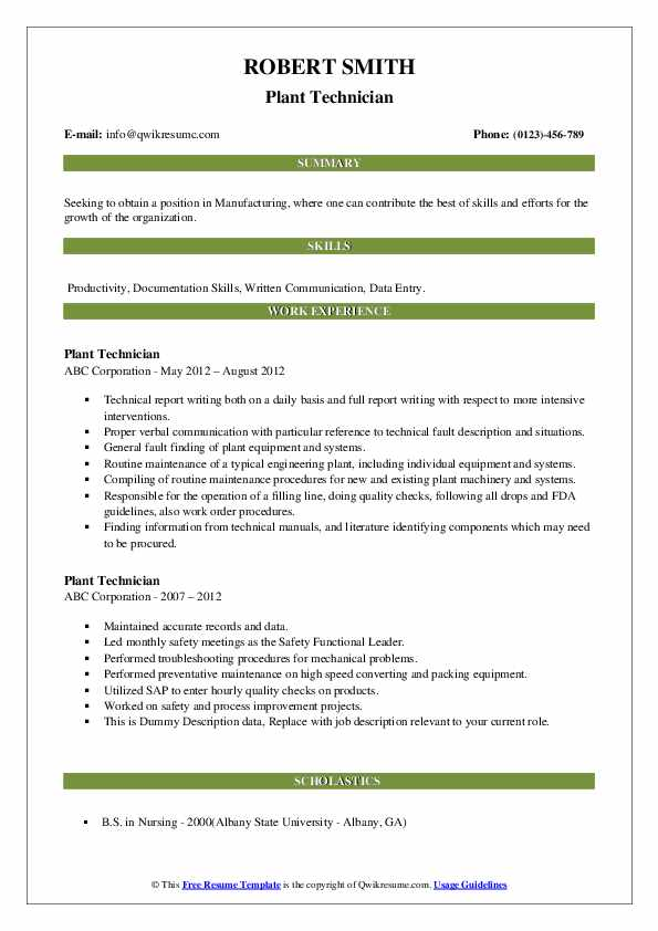 Plant Technician Resume example
