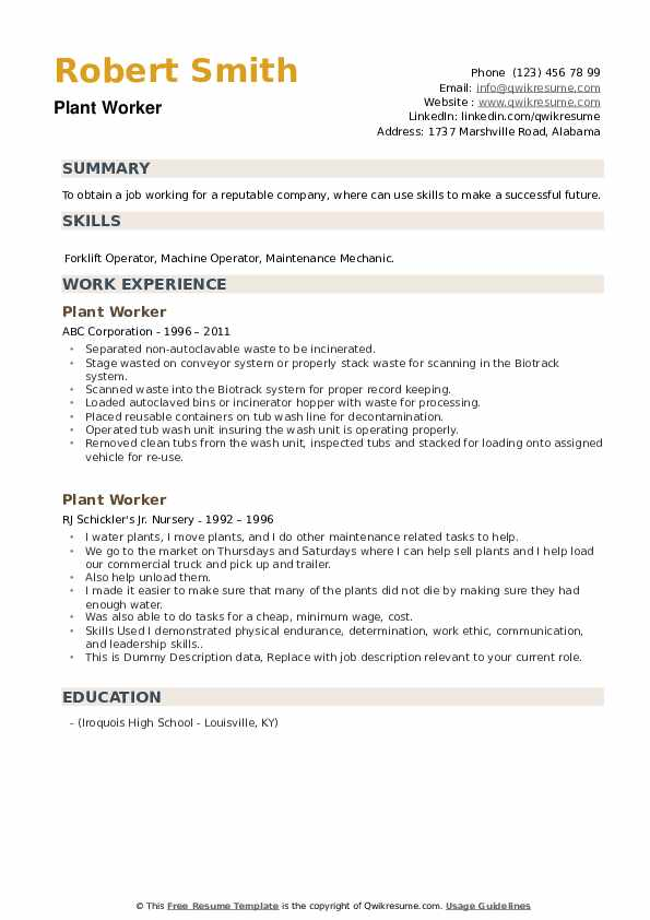Plant Worker Resume example