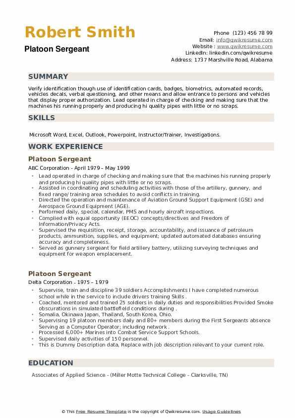 Platoon Sergeant Resume example