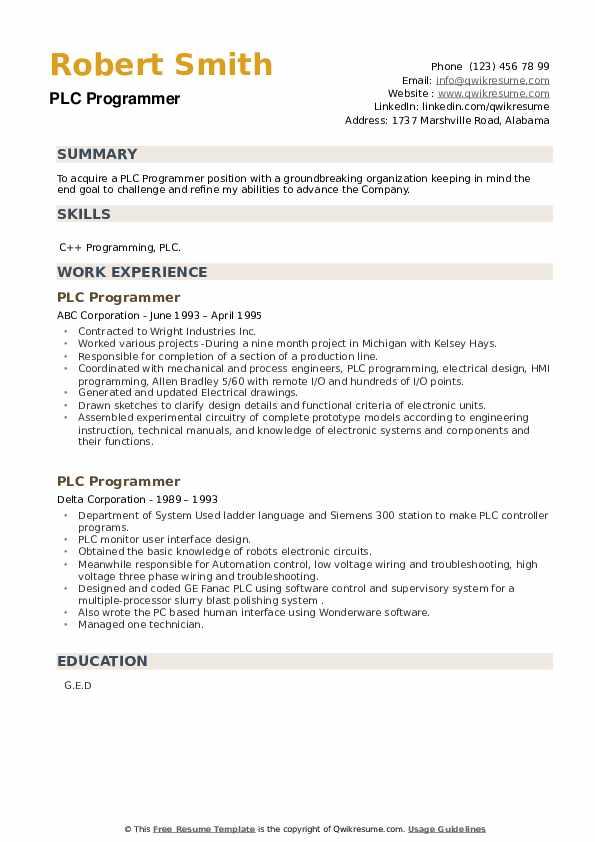 PLC Programmer Resume example
