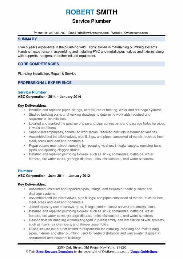 Service Plumber Resume Format