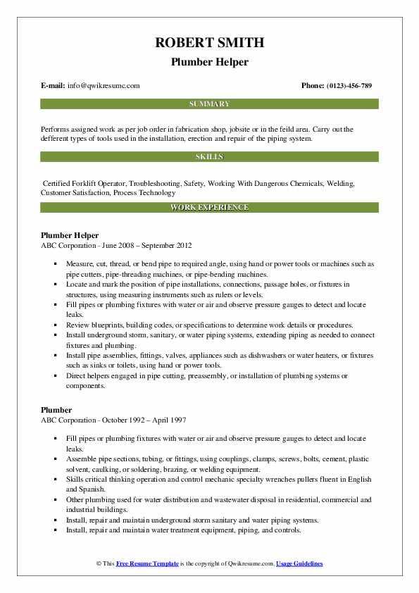 Plumber Helper Resume Model