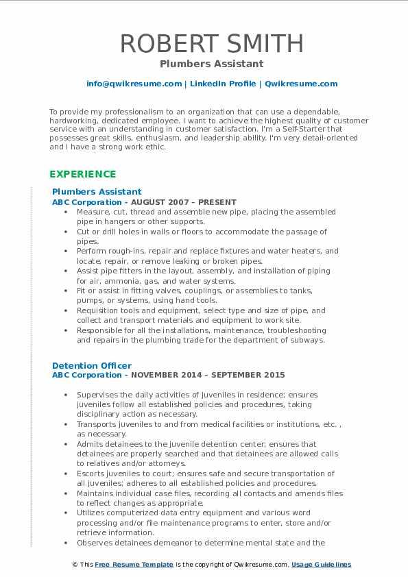 Plumbers Assistant Resume Model