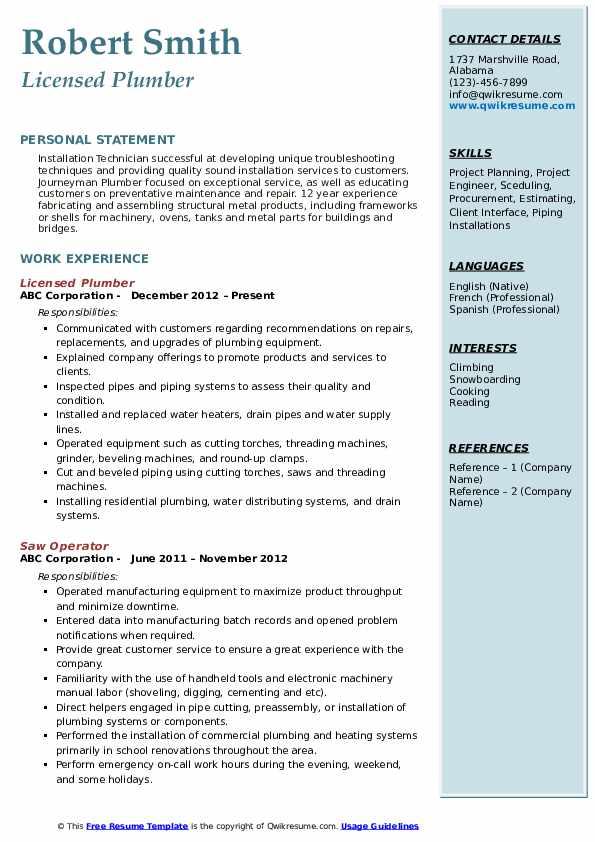 Licensed Plumber Resume Sample