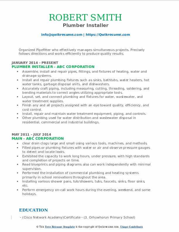 Plumber Installer Resume Format