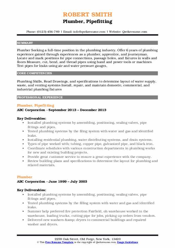 Plumber, Pipefitting Resume Sample