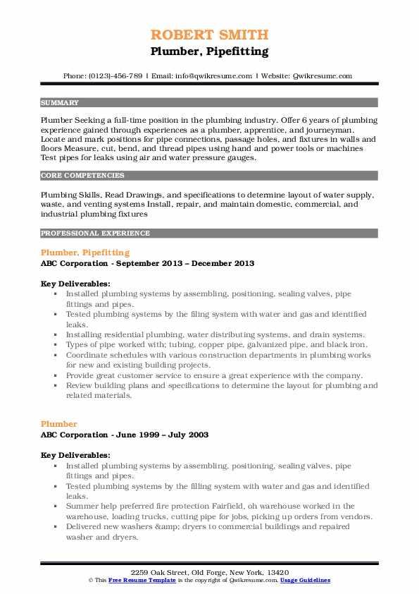 Plumber, Pipefitting Resume Example