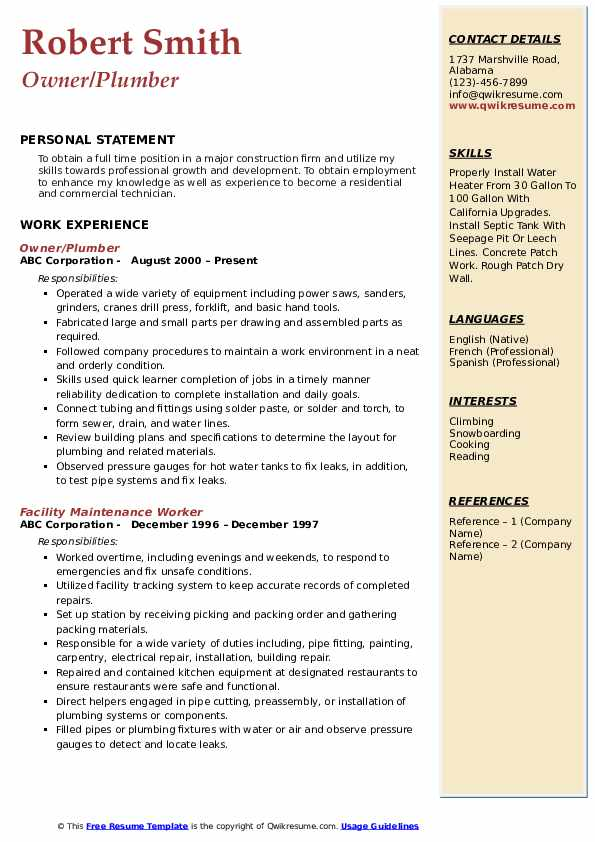 Owner/Plumber Resume Example