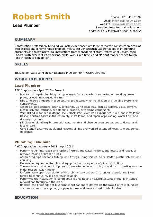 Lead Plumber Resume Example