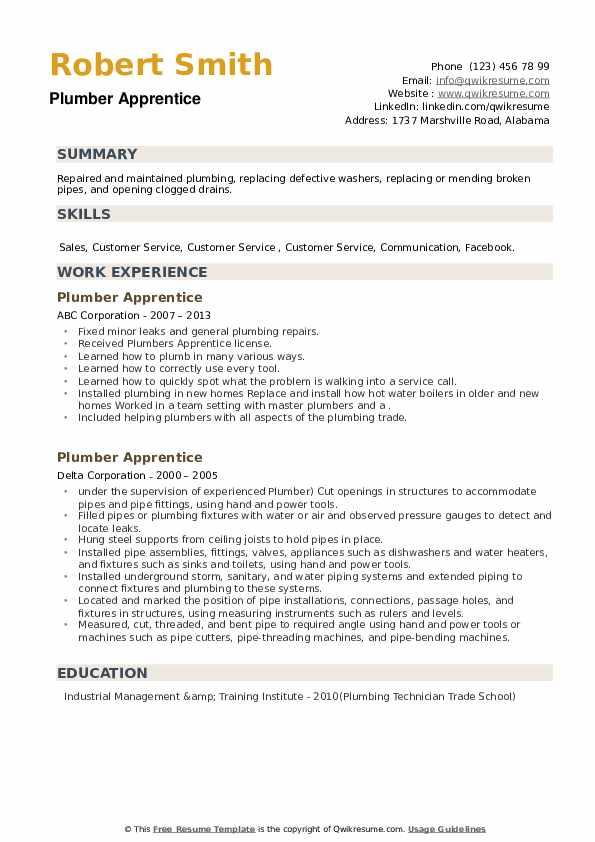 Plumber Apprentice Resume example