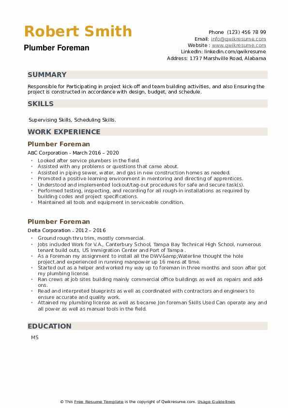 Plumber Foreman Resume example