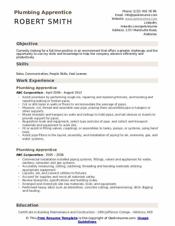 Plumbing Apprentice Resume Samples | QwikResume