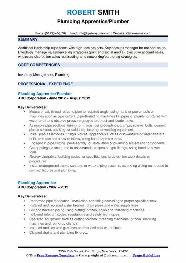Plumbing Apprentice/Plumber Resume Sample