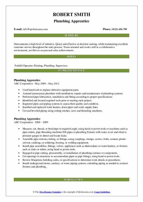 Plumbing Apprentice Resume Sample