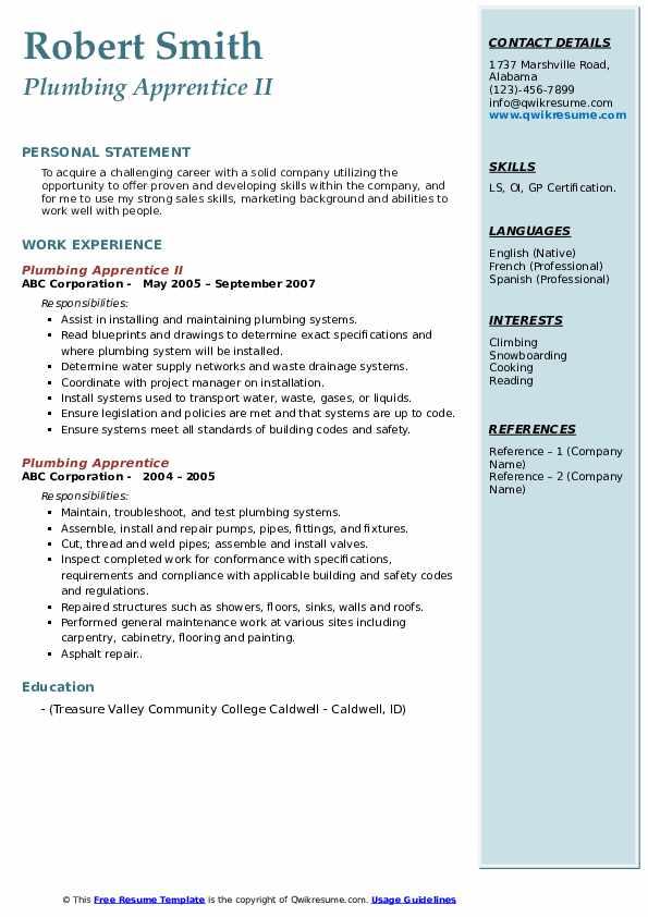 Plumbing Apprentice II Resume Sample