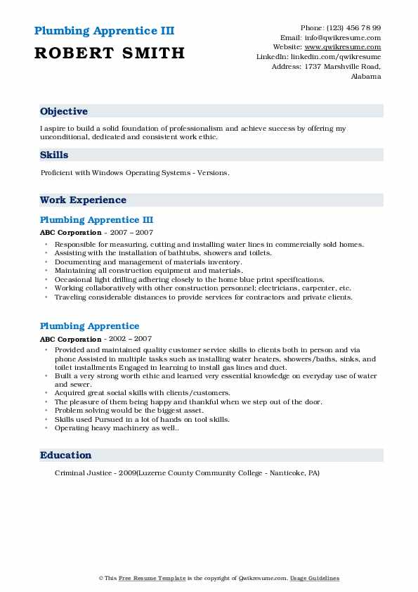 Plumbing Apprentice III Resume Example