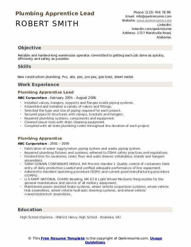 Plumbing Apprentice Lead Resume Format