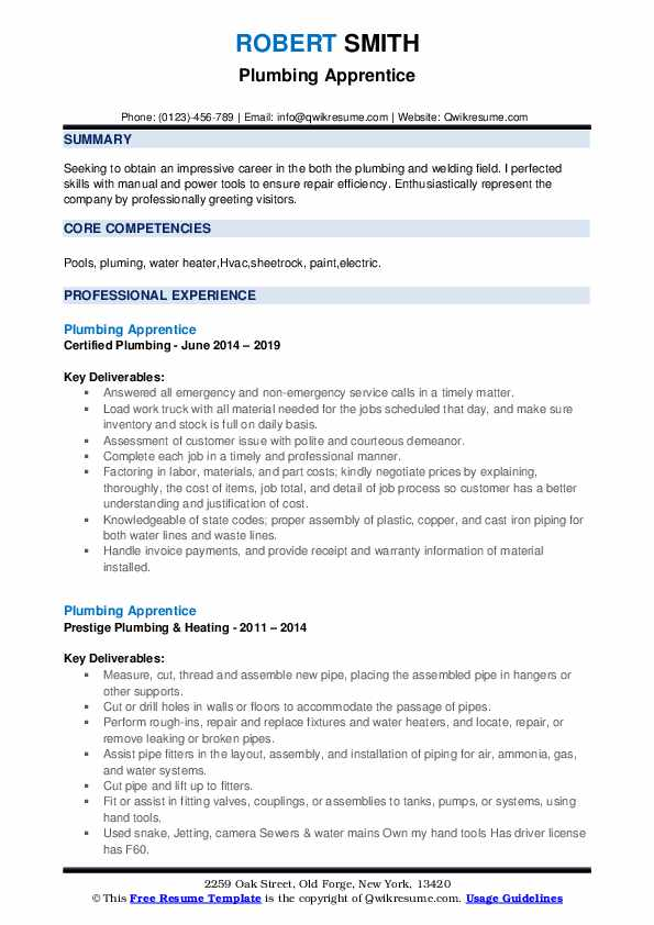 Plumbing Apprentice Resume example