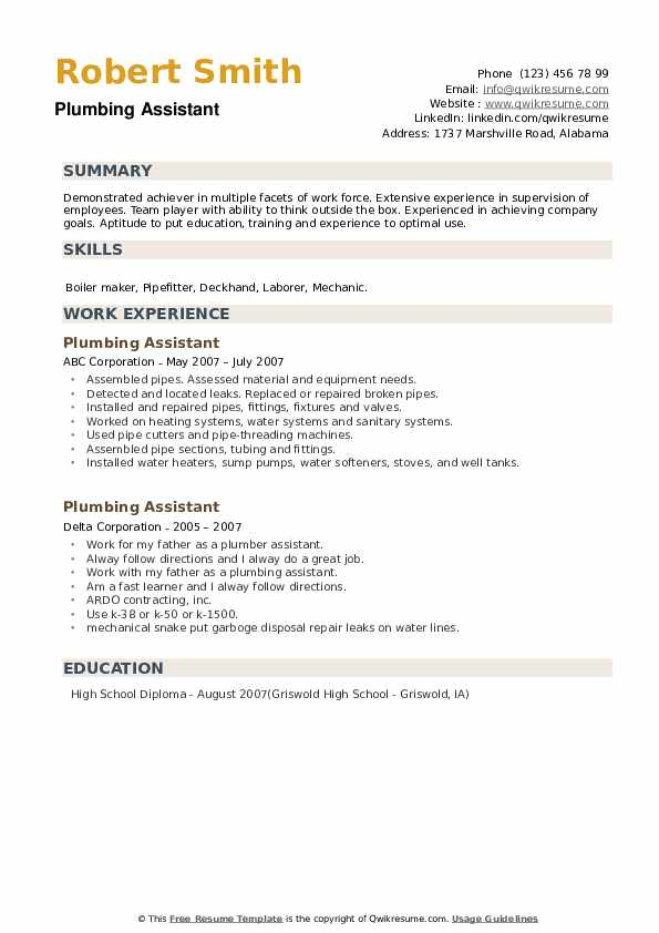 Plumbing Assistant Resume example