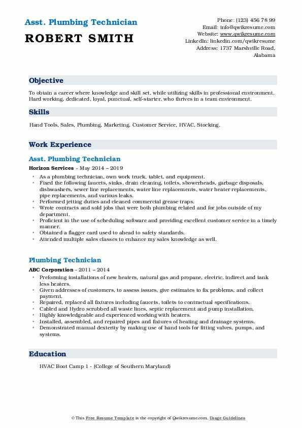 plumbing technician resume samples  qwikresume