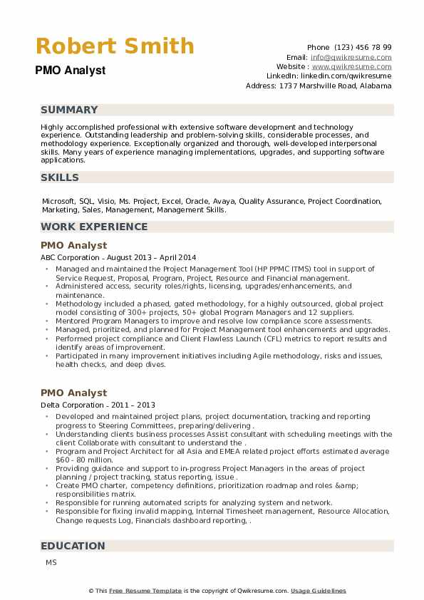 PMO Analyst Resume example