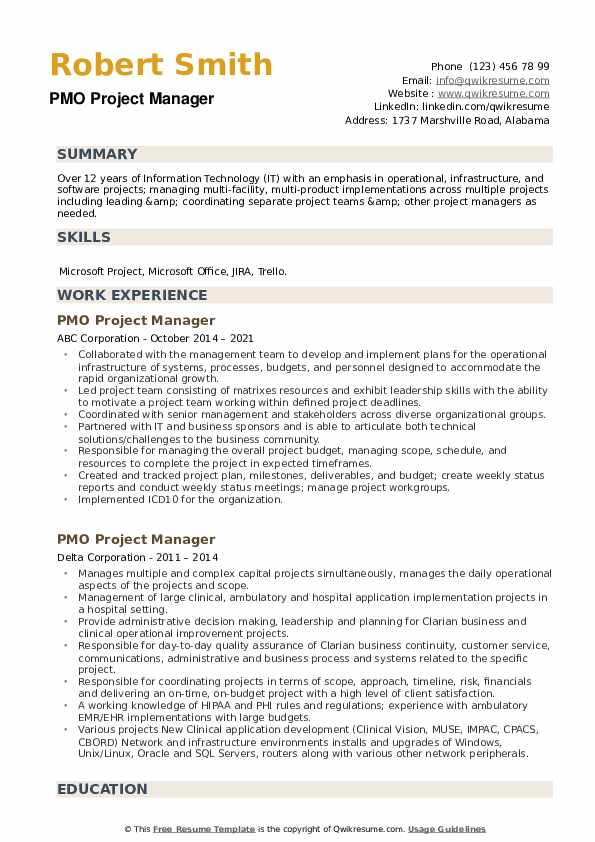 PMO Project Manager Resume example