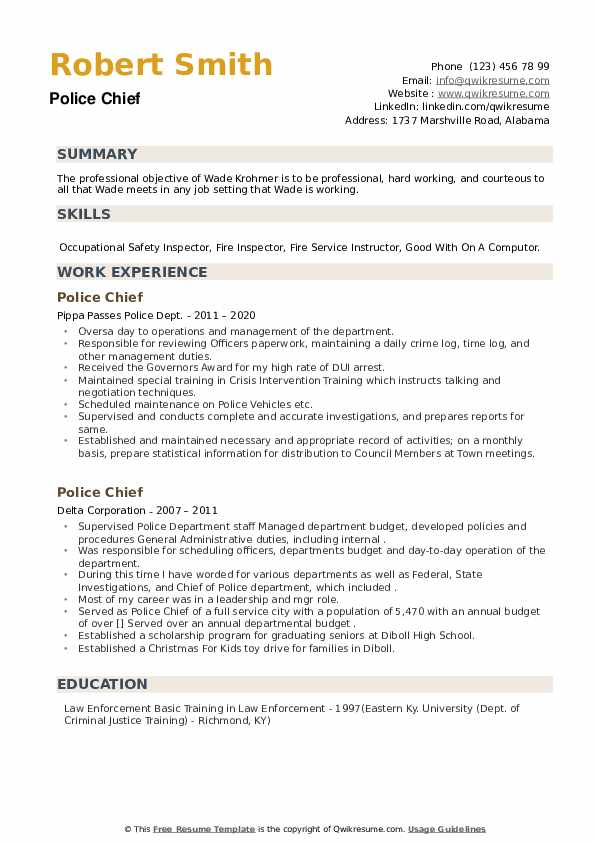 Police Chief Resume example