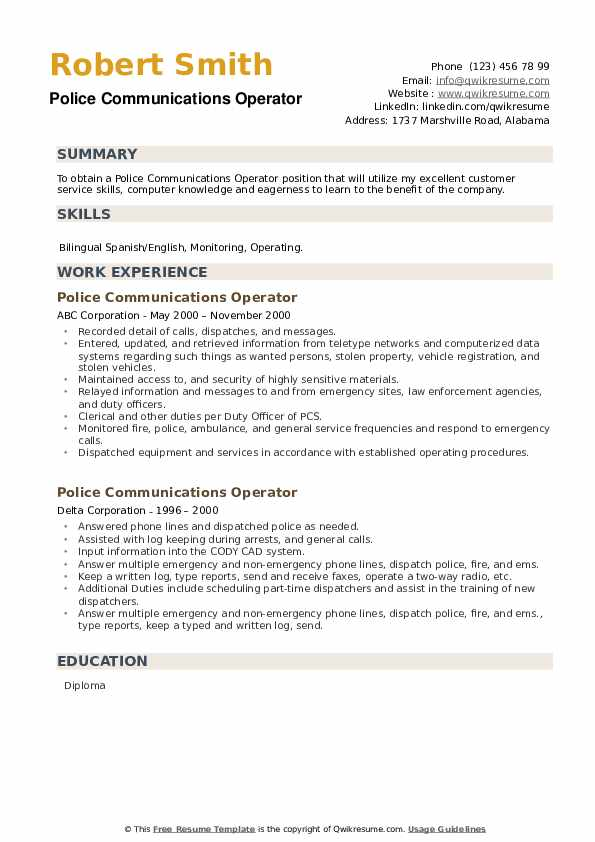 Police Communications Operator Resume example