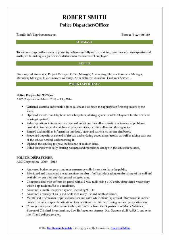 Police Dispatcher/Officer Resume Example