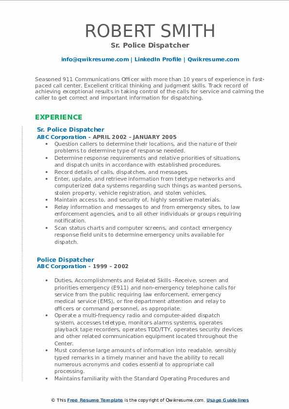 Sr. Police Dispatcher Resume Format