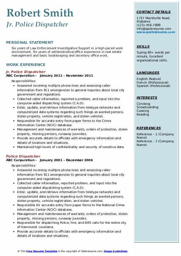 Jr. Police Dispatcher Resume Sample