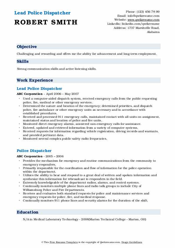 Lead Police Dispatcher Resume Example