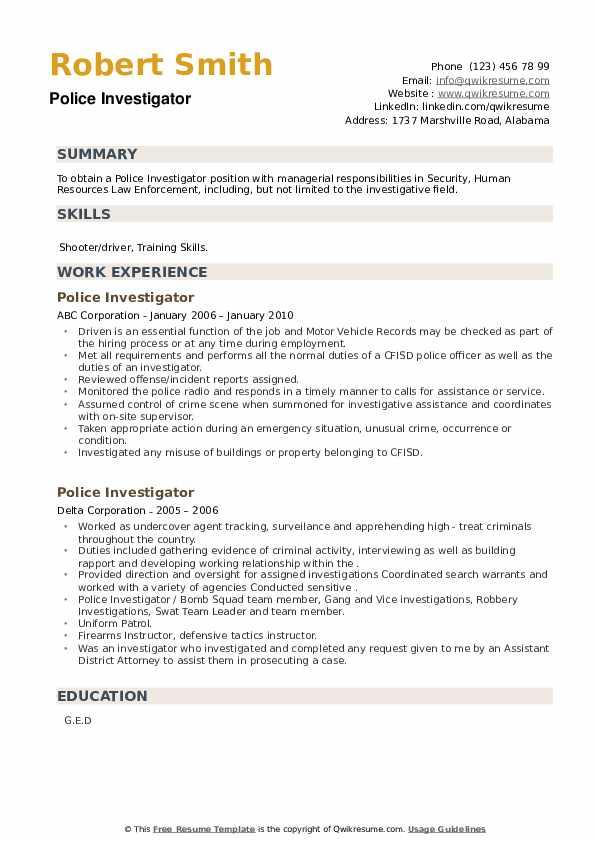Police Investigator Resume example
