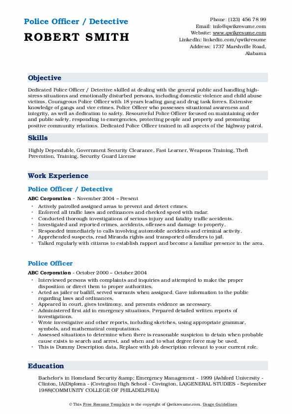 Police Officer / Detective Resume Sample