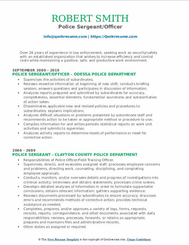 police sergeant resume samples