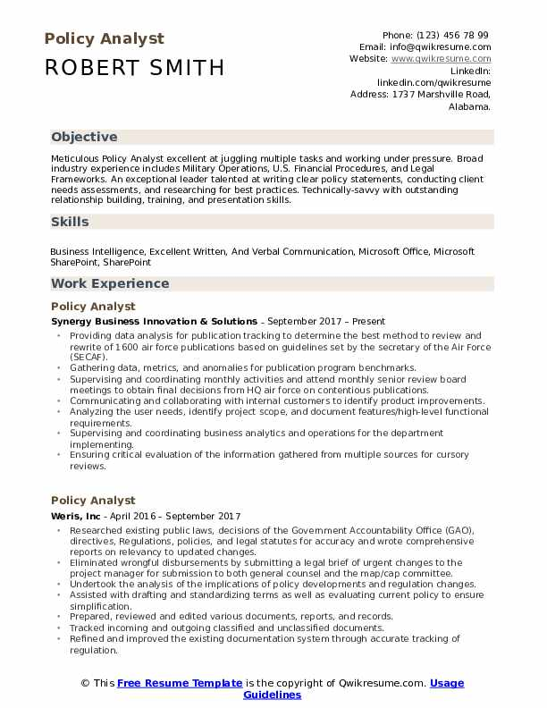 policy analyst resume samples