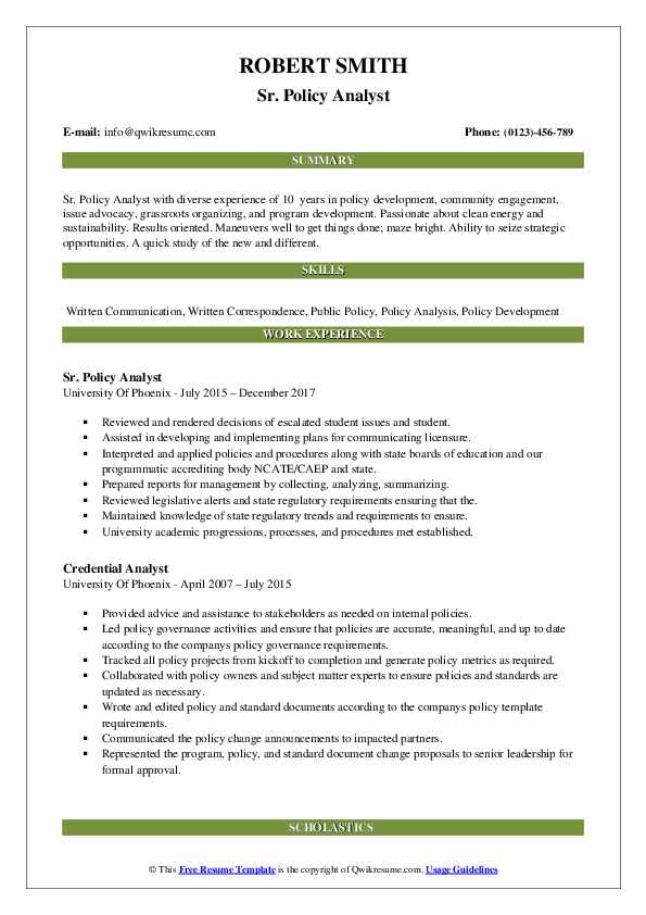 Sr. Policy Analyst Resume Format