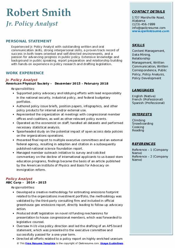Jr. Policy Analyst Resume Sample