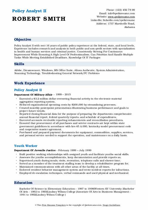 Policy Analyst II Resume Template