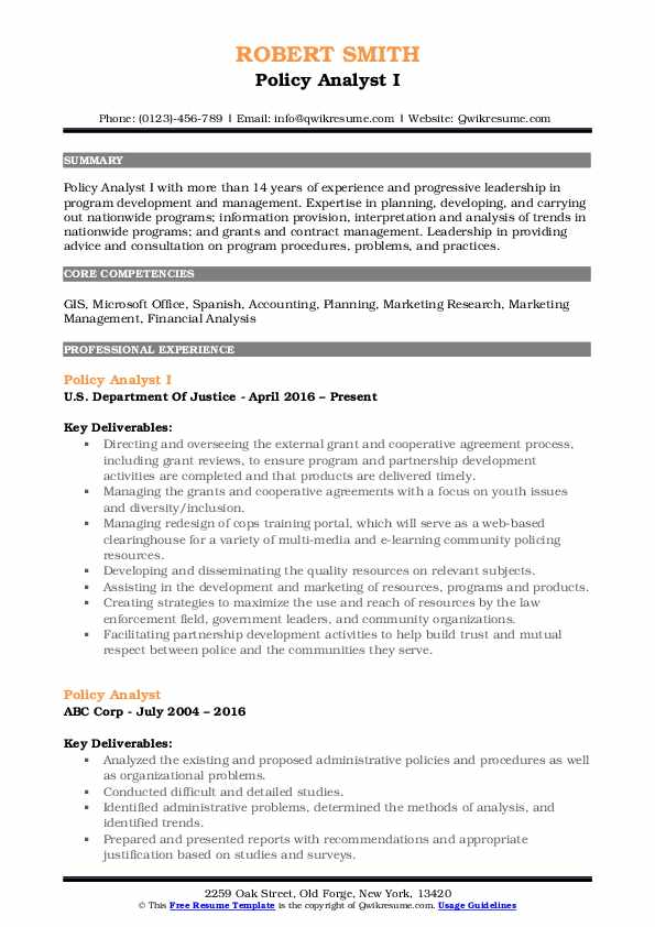 Policy Analyst I Resume Example