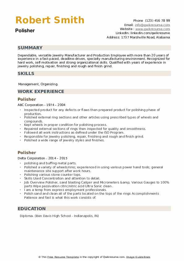 Polisher Resume example