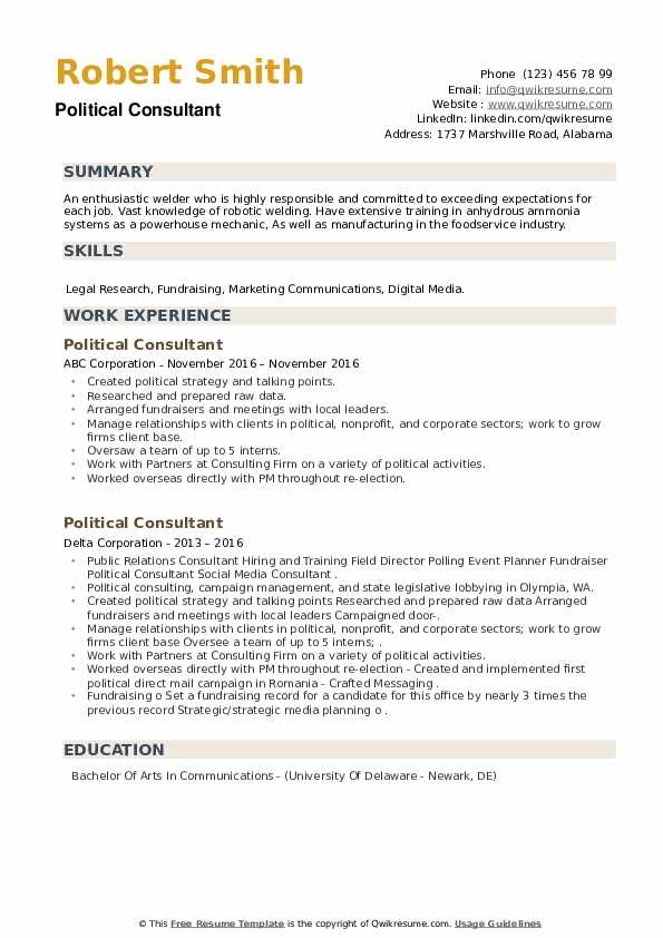Political Consultant Resume example