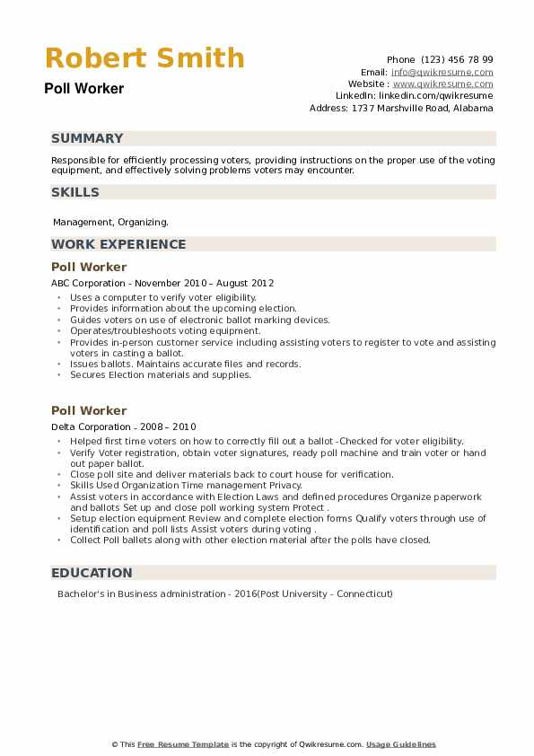 Poll Worker Resume example